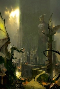 "Greer Gilman's essay assesses ""Languages of the Fantastic"" w/reference to such works as Michael Swanwick's ""The Dragons of Babel"" (art by Stephan Martiniere)"