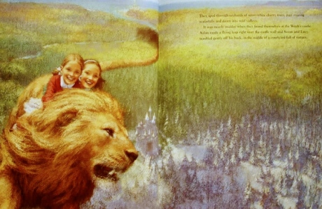 Lucy, Susan, & Aslan (C.S. Lewis, The Lion, the Witch, and the Wardrobe (art by Christian Birmingham)