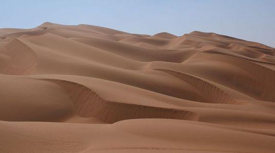 The Empty Quarter (Rub' al Khali Desert, Arabia; Wikipedia Commons)