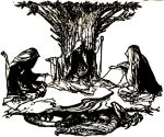 "Arthur Rackham, ""Norns Weaving Destiny (1912),"" from Wagner's Ring of the Nibelung"