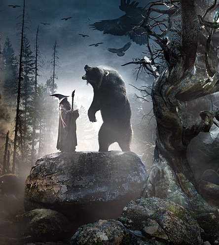 """""""Gandalf & Beorn,"""" from Peter Jackson's Adaptation of J.R.R. Tolkien's work, """"The Hobbit: The Desolation of Smaug"""" (New Line, Warner Bros., 2013)"""