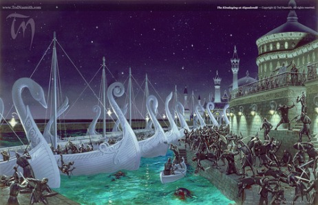Elves of the First Age: The Kinslaying at Aqualondë (Tolkien, The Silmarillion, by Ted Nasmith)