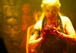 """21st Century Male Fantasy: Daenerys (Emilia Clark) channeling medieval Mongols, vampire myths, and 19th stereotypes as she eats stallion heart (based on Martin's """"A Song of Fire and Ice,"""" HBO)"""