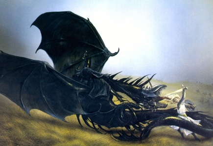 Éowyn & the Witch-King of Angmar (Tolkien, The Return of the King, John Howe)