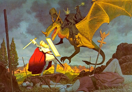 Éowyn vs. the Witch-King of Angmar (J.R.R. Tolkien, The Return of the King; art by the Brothers Hildebrandt)