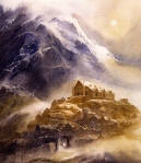 Edoras (Tolkien, The Two Towers; art by Alan Lee & John Howe)