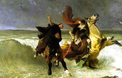 "Fin-de-Siecle Male Ethos:  ""When the going gets tough, a ""godly king"" dumps his daughter to escape...(Evariste-Vital Luminais, ""The Flight of Gradlon: A Breton Legend, ca. 1884)"