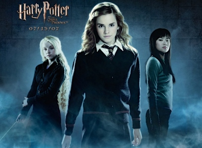 Luna Lovegood, Hermione Granger, & Cho Chang (Evanna Lynch, Emma Watson, & Katie Leung, in 2007's Harry Potter & the Order of the Phoenix, Warner Bros.)