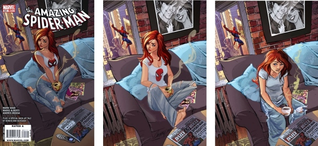 Pin-Up or Real Mary Jane Watson? (ASM #601, art by J.Scott Campbell & other artists)