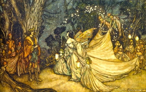 "Shakespeare's A Midsummer's Night Dream, ""The Meeting of Oberon & Titania"" (Arthur Rackham, 1905)"