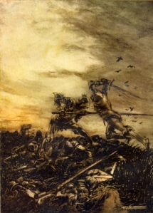 Le Morte d'Arthur — The Battle of Cad Camlan, Arthur vs. Mordred (art by Arthur Rackham)