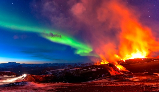 A.J. Carlisle's Epic Fantasy:  The Medieval World of Eddas & Sagas (Aurora Borealis and Volcano on Eyjafjallajökull Glacier, Iceland)
