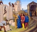 """""""Construction of Aix-la-Chapelle"""" (from Jean Fouquet, Grand Chroniques de France, by Jean Fouquet,1455-1460 (Paris, Francais 6465, fol. 96)"""