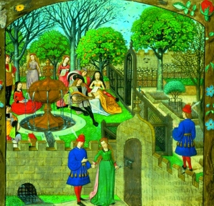 """The Garden of Pleasure,"" from Roman de la Rose (late 15th-century Flemish ms)"