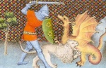 """Literature & Epic Fantasy: Auerbach's Mimesis: """"The Knight Sets Forth,"""" as seen here in """"Yvain, His Lion, & the Dragon"""" (15th c. French ms)"""