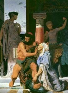 """Literature & Epic Fantasy: Auerbach's Mimesis:  """"Odysseus's Scar"""" & Eurykleia (Gustave Boulanger 1849; Ecole nationale supérieure des Beaux-arts, Paris)"""