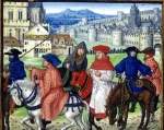 """Geoffrey Chaucer, """"The Canterbury Tales"""" (MS illumination of pilgrims leaving Canterbury, c. 1420.The British Library, MS. Royal 18 D II, folio 148)"""
