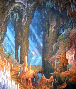 "Inspiration from Medieval Language & Literature: J.R.R. Tolkien, ""The Glittering Caves of Aglorand,"" art by Ted Nasmith)"