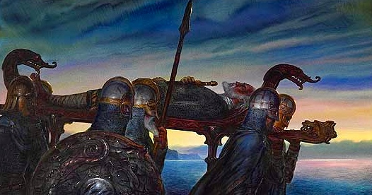 """Inspiration of Medieval Language & Literature: """"Beowulf"""" (""""Beowulf's Funeral,"""" art by John Howe)"""