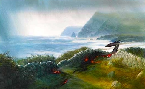 "Inspiration of Medieval Language & Literature: ""Beowulf"" (""The Dragon's Rampage,"" art by John Howe)"