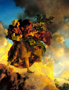"Inspiration of Medieval Language & Literature: ""Princess Parizade Bringing Home the Singing Tree,"" from One Thousand and One Nights (oil, Maxfield Parrish, 1906)"