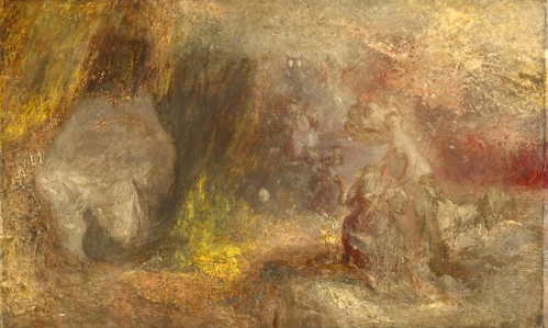 "Inspiration of Medieval Language & Literature: ""The Cave of Despair,"" (Edmund Spenser's Faerie Queene, 1590s; art by Joseph Mallord William Turner, 1835)"