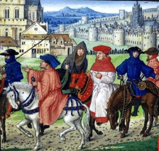 "Inspiration of Medieval Language & Literature: Chaucer's ""The Canterbury Tales"" (illuminated manuscript, c. 1420, The British Library, MS. Royal 18 D II, folio 148"