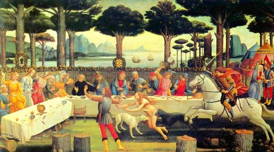 """Inspiration of Medieval Language & Literature: Giovanni Boccaccio's """"The Decameron"""" (art by Sandro Botticelli, 1482-83)"""