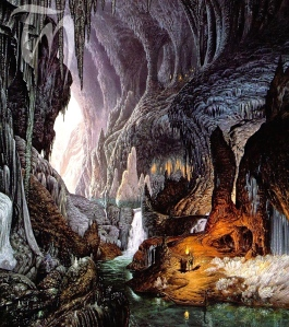 "Inspiration of Medieval Language & Literature: J.R.R. Tolkien, ""Gimli & Legolas in the Glittering Caves of Aglraond,"" from The Two Towers & RotK, Appendix A,"" art by Ted Nasmith)"
