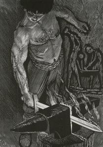 "Inspiration of Medieval Language & Literature: The Epics & Sagas (""Forging the Sword,"" by Simon Brett, engraving)"