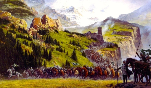 "Inspiration of Medieval Language & Literature: J.R.R. Tolkien, The Two Towers: ""The Riders of Rohan"" (art by Ted Nasmith)"
