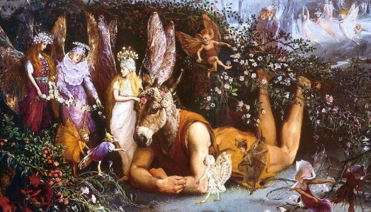 "Titania & Bottom, from Shakespeare's ""A Midsummer's Night Dream"" (art by John Anster Fitzgerald, d. 1906)"