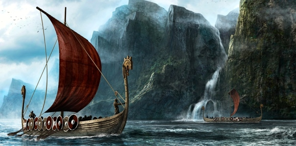 Viking Longboats (art by Richard Benning)