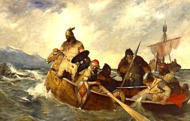 """Norwegians Landing on Iceland, 872"" (Oscar Wergeland, 1877; oil on canvas)"