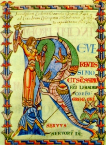 "Medieval Language & Literature: ""St. George & the Dragon"" (from the ""Moralia of Job,"" ms. lat., 12thc.)"