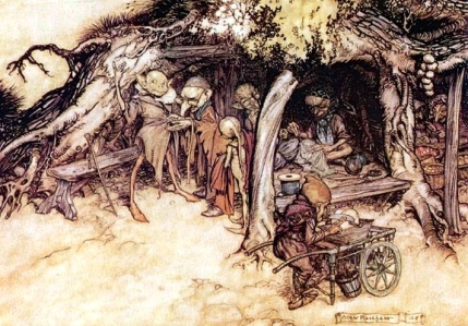 "William Shakespeare, ""To make my small elves coats,"" from ""A Midsummer Night's Dream (Arthur Rackham)"