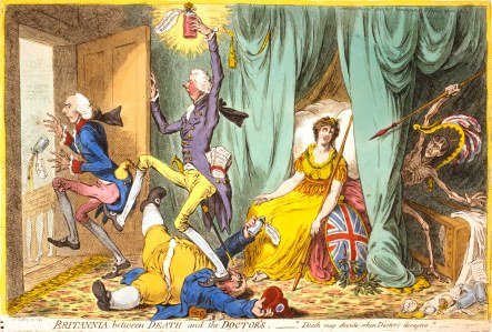 """Britannia between Death and the Doctors"" (Political Cartoon, 1804, Gillray)"