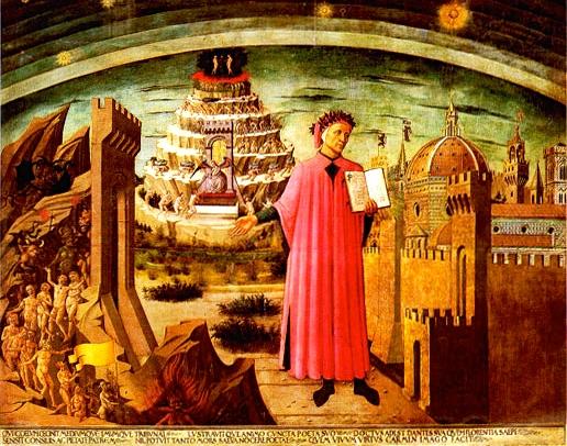 """Inspiration of Medieval Language & Literature: Erich Auerbach & Dante Alighieri, """"The Divine Comedy"""" (Domenico di Michelino, fresco, wall of Florence Cathedral, Santa Maria del Fiore, 1465)"""