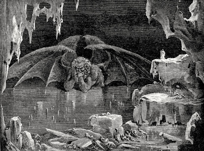 "Inspiration of Medieval Language & Literature: Auerbach's ""Dante's Inferno"" (Canto 34's ""Lucifer King of Hell,"" art by Gustave Dore, c. 1861-1868)"