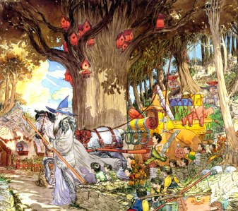 "J.R.R. Tolkien, ""The Fellowship of the Ring"" (""Gandalf arrives in Hobbiton,"" by Michael Kaluta)"