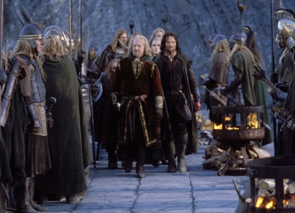 "J.R.R. Tolkien, ""Théoden & Aragorn at Helm's Deep"" (Bernard Hill & Viggo Mortensen, in Peter Jackson's 2002 ""The Two Towers,"" New Line Cinema)"