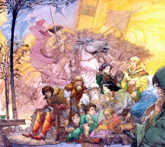 "J.R.R. Tolkien, ""The Fellowship of the Ring"" (""Elrond recalls the hosts of Gil-gilad,"" by Michael Kaluta)"