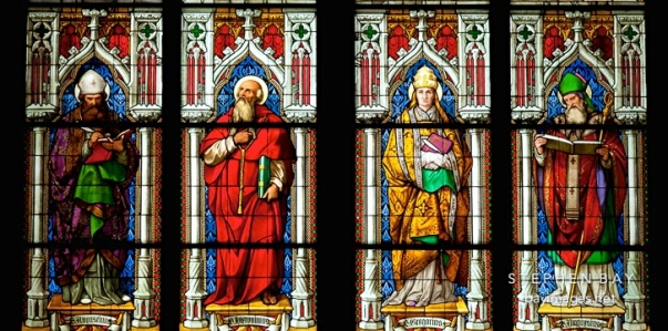 "Inspiration of Medieval Language & Literature: Auerbach's ""Sermo Humilis"" (Stained glass depiction of Augustine, Jerome, Gregory, and Ambrose; Cologne Cathedral; pic by Stephen Bay)"