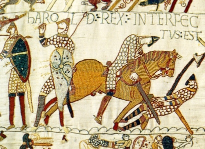 "Medieval Language & Literature: The Impact of the Norman Conquest, 1066 (""Death of Harold Godwinson at Battle of Hastings,"" Bayeux Tapestry, c. 1070)"