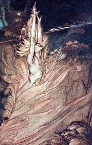 "Some Critics' Association of Tolkien with Wagner's ""Ring of the Nibelung"" (here Odin & Loki, Arthur Rackham, 1910)"