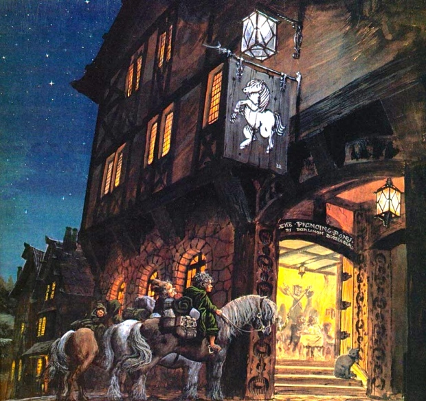 """J.R.R. Tolkien, """"The Fellowship of the Ring,"""" 1953 (here, """"At the Sign of the Prancing Pony,"""" by Ted Nasmith)"""
