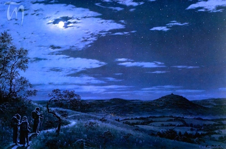 "Tolkien, ""Last Sight of Hobbiton"" (Ted Nasmith)"