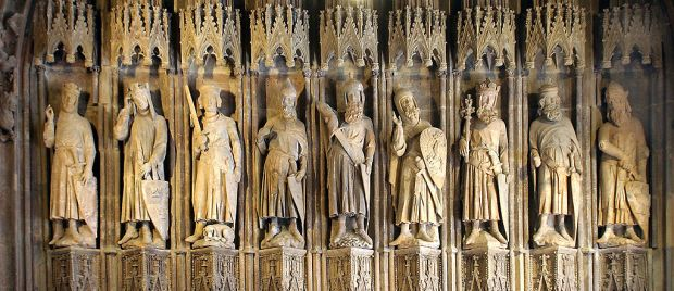 "Inspiration of Medieval Language & Literature: Romance: ""The Nine Worthies"" (from left to right: Charlemagne, King Arthur, Godfrey of Bouillon; Julius Caesar, Hector, Alexander the Great; David, Joshua, and Judas Maccabeus; 13th Cent. carving, City Hall, Cologne, Germany; ""Neun Gute Helden"")"
