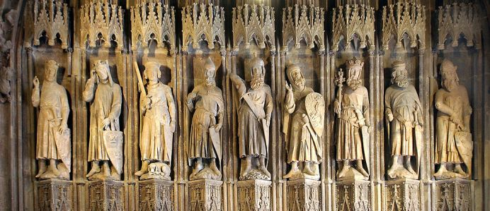 """Inspiration of Medieval Language & Literature: Romance: """"The Nine Worthies"""" (from left to right: Charlemagne, King Arthur, Godfrey of Bouillon; Julius Caesar, Hector, Alexander the Great; David, Joshua, and Judas Maccabeus; 13th Cent. carving, City Hall, Cologne, Germany; """"Neun Gute Helden"""")"""