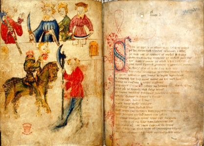 "Inspiration of Medieval Lang & Lit: Romance (""Sir Gawain & the Green Knight,"" Cotton MS Nero A.x, article 3, ff.94v95)"